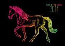Szczęśliwy Chiński nowy rok koń 2014 ilustracji