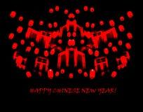 Szczęśliwy Chiński nowy rok: minimalistyczny czerwony nakreślenie lampiony na bla Zdjęcia Stock