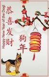 Szczęśliwy Chiński nowy rok Psi 2018 Elegancki kwiecisty kartka z pozdrowieniami z tekstem w chińczyku i angielszczyznach Zdjęcie Stock