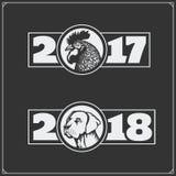 Szczęśliwy chiński nowy rok 2017 z kogutem i szczęśliwy chiński nowy rok 2018 z psem royalty ilustracja