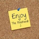 Szczęśliwy Cieszy się Weekendową notatkę zdjęcia royalty free