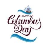 Szczęśliwy Columbus dzień Trend kaligrafia tła ilustracyjny rekinu wektoru biel Wielka wakacyjnego prezenta karta royalty ilustracja