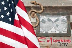 Szczęśliwy Columbus dzień zaznacza my Mapa Amerykański kontynent Fotografia Royalty Free