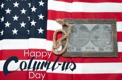 Szczęśliwy Columbus dzień zaznacza my Mapa Amerykański kontynent zdjęcie stock