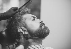 szczęśliwy człowiek Ostrzyżenie brodaty mężczyzna, archaizm obraz stock