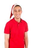 Szczęśliwy czarny Santa Claus nad białym tłem Zdjęcia Royalty Free