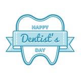 Szczęśliwy dentysty dnia powitania emblemat Obraz Stock