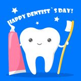 Szczęśliwy dentysty dnia wakacje Stomatologiczny Oralny i opieka royalty ilustracja