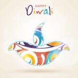 Szczęśliwy Diwali świętowanie z colourful zaświecającą lampą Fotografia Royalty Free