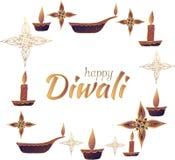 Szczęśliwy Diwali! Sztandar Biały tło wektor royalty ilustracja