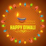 Szczęśliwy Diwali tło dekorujący z światłem royalty ilustracja