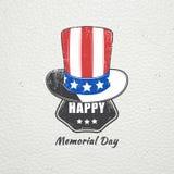 Szczęśliwy dnia pamięci set Świętowanie patriotyczny świętowanie Ameryka Szczegółowi elementy Typograficzne etykietki royalty ilustracja
