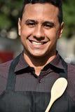 Szczęśliwy Dorosłej samiec szef kuchni Lub Cook obraz royalty free