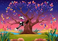 Szczęśliwy drzewo w wsi z dzięciołem Obraz Stock