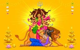 Szczęśliwy Dussehra z boginią Durga ilustracji