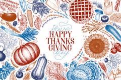 Szczęśliwy Dziękczynienia Dzień projekta szablon Wektorowa ręka rysujący illust ilustracja wektor