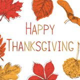 Szczęśliwy dziękczynienia dzień tło Ręka rysująca wektorowa ilustracja ilustracji