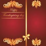 Szczęśliwy dziękczynienia tło z liściem klonowym Zdjęcia Royalty Free