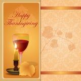 Szczęśliwy dziękczynienia tło z winogradu liściem Fotografia Royalty Free