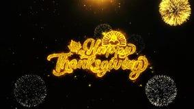 Szczęśliwy dziękczynienie życzy powitanie kartę, zaproszenie, świętowanie fajerwerk zapętlający