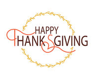 Szczęśliwy dziękczynienie dnia logotyp, odznaka zdjęcia royalty free
