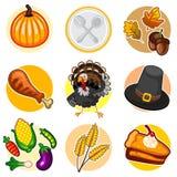 Szczęśliwy dziękczynienie majcheru ikony set Zdjęcie Royalty Free