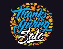 Szczęśliwy dziękczynienie sprzedaży ręki literowanie ilustracji