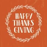Szczęśliwy dziękczynienie - wręcza patroszonego literowanie typografii plakat ilustracji