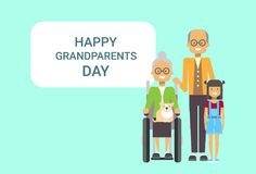 Szczęśliwy dziadka dnia kartka z pozdrowieniami sztandaru dziad I babcia Z wnukiem Wpólnie Zdjęcie Royalty Free