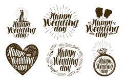 Szczęśliwy dzień ślubu, etykietka set Para małżeńska, miłości ikona lub logo, Literowanie wektoru ilustracja Fotografia Royalty Free