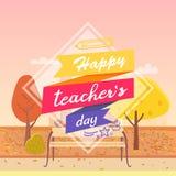 Szczęśliwy dzień Dekorująca nauczyciel Wektorowa ilustracja royalty ilustracja