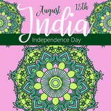 Szczęśliwy dzień niepodległości India, Wektorowa ilustracja, ulotka projekt dla 15th Sierpień Fotografia Royalty Free