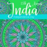 Szczęśliwy dzień niepodległości India, Wektorowa ilustracja, ulotka projekt dla 15th Sierpień Obraz Royalty Free