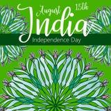 Szczęśliwy dzień niepodległości India, Wektorowa ilustracja, ulotka projekt dla 15th Sierpień Zdjęcie Royalty Free