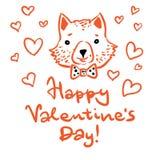 szczęśliwy dzień valentine s Pocztówka z lisa i ręki literowaniem ilustracja wektor