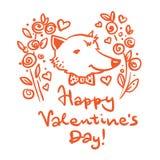 szczęśliwy dzień valentine s Pocztówka z lisem ilustracji