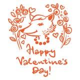 szczęśliwy dzień valentine s Pocztówka z lisem ilustracja wektor