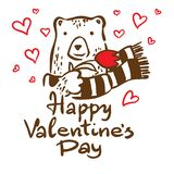 szczęśliwy dzień valentine s Pocztówka z niedźwiedzia i ręki literowaniem ilustracji