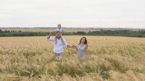 Szczęśliwy dzieciństwo, rodzina na pszenicznym polu wpólnie zbiory
