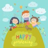 Szczęśliwy dzieci Uprawiać ogródek Fotografia Stock