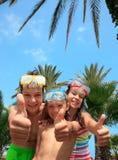 szczęśliwy dzieciaków masek snorkel Obrazy Royalty Free