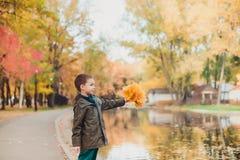 Szczęśliwy dzieciak chłopiec odprowadzenie w parku Udziały żółci liście wokoło Chłopiec stojaki przy jeziorem obraz royalty free