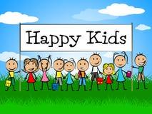 Szczęśliwy dzieciaka sztandar Reprezentuje Radosnego szczęście I dziecka Obraz Stock