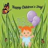 Szczęśliwy dziecko dnia kartka z pozdrowieniami szablon z czerwonym włosianym berbeć dziewczyny obsiadaniem na trawie i mieniu sz ilustracja wektor