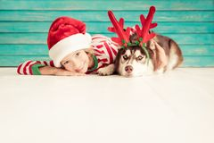 Szczęśliwy dziecko i pies na wigilii Zdjęcie Royalty Free