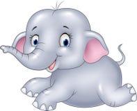 Szczęśliwy dziecko słonia obsiadanie odizolowywający na białym tle ilustracji