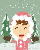 szczęśliwy dziewczyna śnieg Obrazy Royalty Free