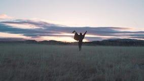 Szczęśliwy dziewczyna bieg w polu zdjęcie wideo