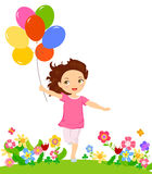 Szczęśliwy dziewczyna bieg z balonem ilustracji