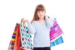 szczęśliwy dziewczyna zakupy fotografia stock